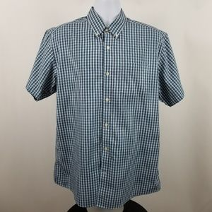 Eddie Bauer Wrinkle Free Relaxed Blue Check Shirt